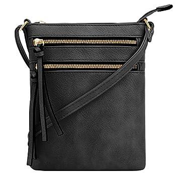 DELUXITY Crossbody Purse Bag Shoulder Bag Multi Pocket Zipper Purse | Black