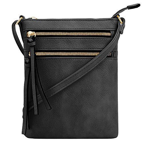 DELUXITY Crossbody Purse Bag Shoulder Bag Multi Pocket Zipper Purse   Black
