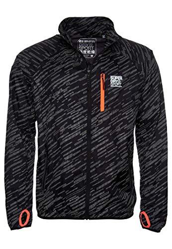 Superdry Herren Leichte Training Jacke mit reflektierenden Details Schwarz Reflektierend XS