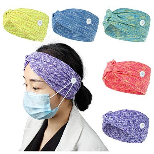 Diademas para mujeres Paquete de 5 accesorios para el cabello para mujeres con botones para sujetar Cordón elástico Envolturas de cabeza ancha Bandas para el cabello para deportes Yoga Correr Ikat-B