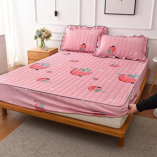 FJMLAY Sábana Bajera clásica,Sábanas Gruesas Acolchadas para Cama, Almohadilla Protectora Antideslizante para Dormitorio, apartamento, Hotel-Pink_1_90cmx200cm