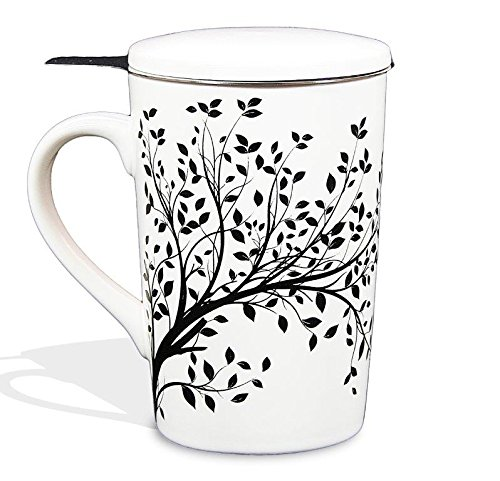 Tea Branch - Tea Mug With Infuser and Lid, Contemporary Single Cup Tea 12.8 ounce, Tea For One Set With Stainless Steel Brewing Basket For Loose Leaf Tea, Tea Gifts, Ding Ware Porcelain (Black Tree)