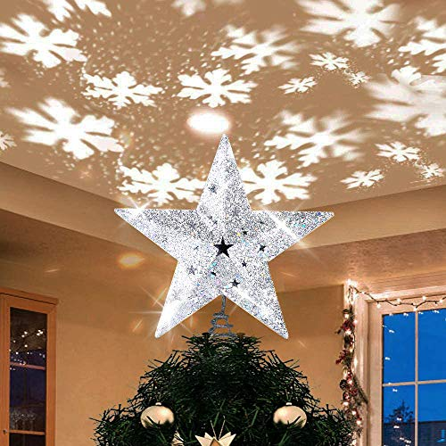 "Christmas Tree Topper Lighted with Bulit-in LED Projector, Shinning Snowflake Rotating Lights Effect, Plug-in Powered 3D Hollow Silver Star Xmas Tree Topper for Christmas Tree Decorations(9.6"")"