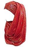 Lina & Lily Gold Glitter Plain Color Hijab Muslim Head Wrap Scarf Shawl (Red)
