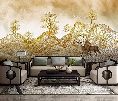 Nordic Vintage TV Achtergrond Muur, Creatieve Hand Geschilderde Gouden lijn Berg, Rijken Boom, Elken Achtergrond Muur 150×105cm 150×105cm
