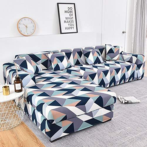 MKQB Funda de sofá de Esquina en Forma de L para Sala de Estar, Funda de sofá Envuelta herméticamente Antideslizante, Funda Protectora elástica Extensible NO.14 S (90-140cm