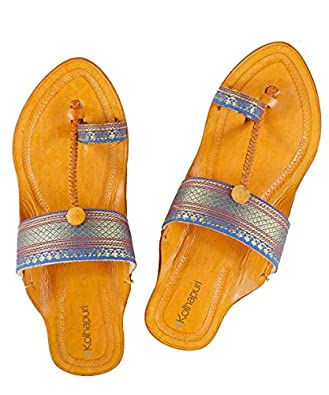 KALAPURI Ladies Kolhapuri Chappal in Genuine Leather with Brown Pointed Shape Base and Traditional Paithani Lace Upper. Handmade in Kolhapur