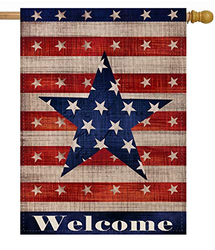 Dyrenson Home Decorative Large 4th of July Patriotic Star House Flag Double Sided, Welcome Quote House Yard Decor, Primitive Outdoor Decorations, USA Vintage Holiday Seasonal Flag 28 x 40