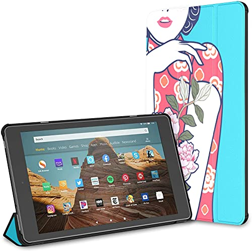 Custodia per tablet Chinese Lady Fire Hd 10 blu e bianco (9a settima generazione, versione 2019 2017) Custodia per Kindle Fire Custodie e custodie in pelle per Kindle Auto Wake Sleep per tablet da 10