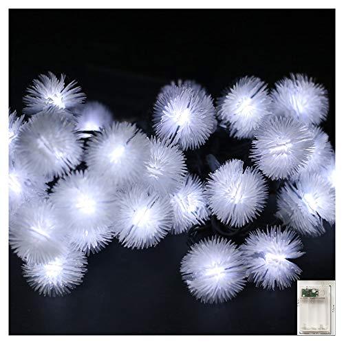 TIM-LI Luces de cadena impermeables al aire libre, 40 luces LED de bola de nieve, funciona con pilas, luces de hadas estrelladas para jardín, árbol de Navidad, fiestas (color multicolor), blanco