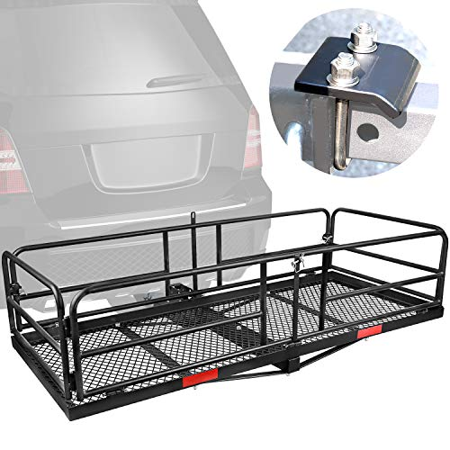 XCAR Hitch Mount High Side Cargo Carrier Rack Luggage Basket with Hitch Tightener for Car with 2