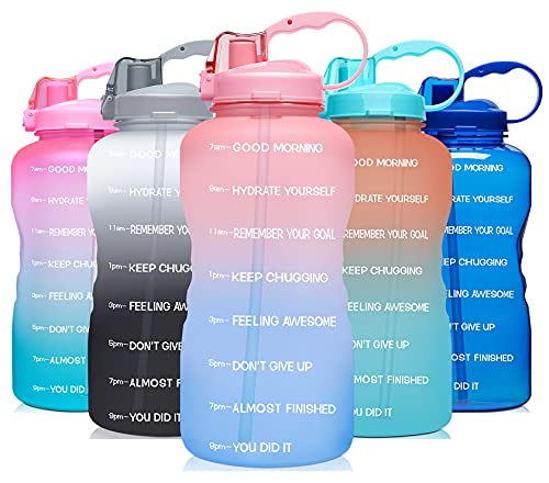 Venture Pal Large 1 Gallon/128 OZ (When Full) Motivational BPA Free Leakproof Water Bottle with Straw & Time Marker Perfect for Fitness Gym Camping Outdoor Sports-Clear-Pink/Blue Gradient