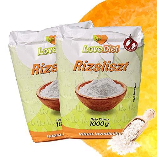 LoveDiet Reismehl 2x1000g   Vollkorn Reismehl   Gluten Free Rice flour   Paleo   Vegan   Weizenmehlalternative   Glutenfrei mehl   Rohkostqualität   Ohne Zusätze   Perfekt für süße und salzige Rezepte