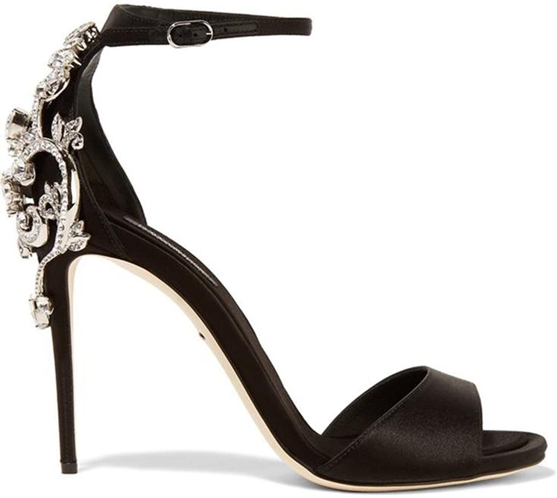 HIGHXE Diamant-Metall-High Heels, Seide offene Zehensandalen, Mode-Temperament  | Deutschland