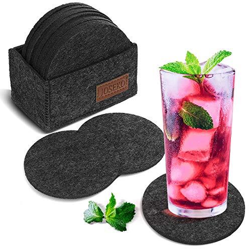 Sottobicchieri rotondi in feltro JOSEKO per bicchieri, set di 12, sottobicchieri in vetro Design in grigio scuro con scatola portaoggetti sottobicchieri in feltro, per bevande, tazze, bar