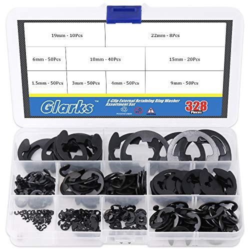 Glarks 328-Pieces 9 Size Black Alloy Steel E-Clip External Retaining Ring Washer Assortment Set