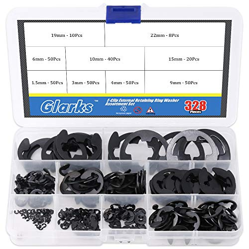 Glarks 328-Pieces 9 Size Black Alloy Steel E-Clip External Retaining Ring Washer Assortment Set