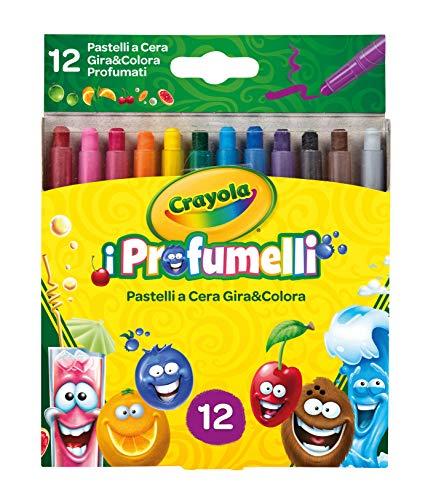 Crayola I Profumelli Pastelli a Cera Profumati Gira e Colora, per Scuola e Tempo Libero, Colori Assortiti, 12 Pezzi, 52-9712