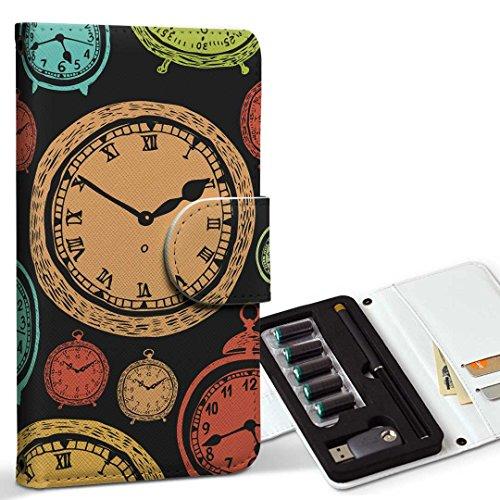 スマコレ ploom TECH プルームテック 専用 レザーケース 手帳型 タバコ ケース カバー 合皮 ケース カバー 収納 プルームケース デザイン 革 時計 アンティーク 009701