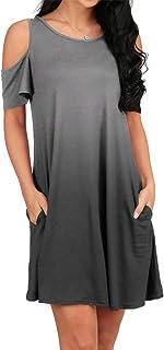 696476398624b OFEEFAN Women's Cold Shoulder Tunic Top T-Shirt Swing Dress with Pockets