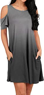 OFEEFAN Women's Cold Shoulder Tunic Top T-Shirt Swing Dress with Pockets