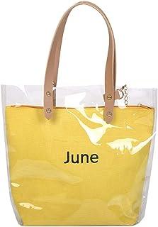 Wultia - Women's Fashion Wave Point Transparent Shoulder Bag Fruit Grain Crossbody Bag Lady Transparent Jelly Pack 6.66#M07 Yellow