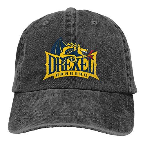 Alicoco Drexel University Logo Classic Cowboy Hat Gorra de béisbol Ajustable, Sombrero para el Sol, Unisex Casual Sports Hat Casquette Black