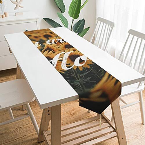 """by Unbranded Camino de mesa de 177,8 x 33 cm, decoración de mesa para el hogar, con texto en inglés """"You Are My Girasol"""" natural paisaje, decoración de mesa para bodas, cocina, comedor, fiesta festiva"""