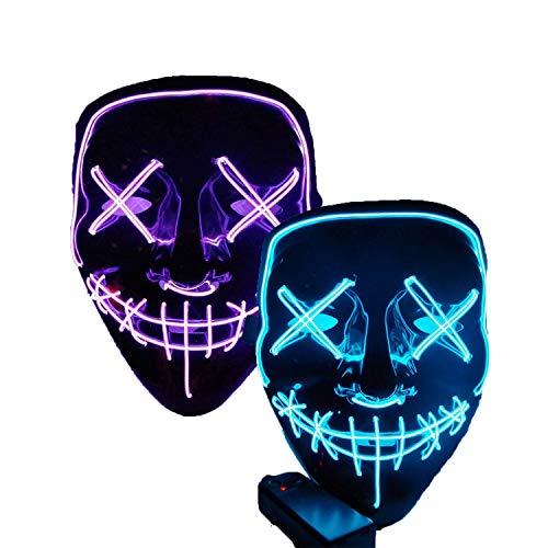 Halloween Led Scary Masks - 2 Purge Mask Light Up,Masquerade Mask for Women