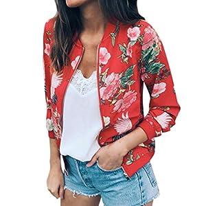 Overdose Las Nuevas SeñOras De Las Mujeres Retro Floral O-Cuello Zipper Up Bomber Mejor Venden Chaqueta Casual Outwear