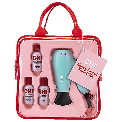CHI Candy Coated Travel Kit 1400w Travel Hair Dryer With 2oz Chi Infra Shampoo, Conditioner and 2oz Chi Silk Infusion Inside Pink Tote Limited Edition, 1 Pound