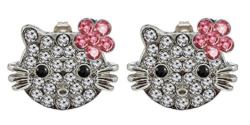 Hello Kitty Silver Stud Earrings, Flower Design with AAA+ CZ Crystals - Packed in a Lovely Velvet Bag, Ideal as a Jewelry Gift.