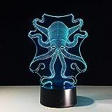 3D Night Light 3D Night Light para niños Lovely Octopus 3D Lámpara Novedad 7 Cambio de color Led Night Lights Animal 3D Escritorio Lámpara de mesa Baby Sleep Lámpara como decoración del hogar