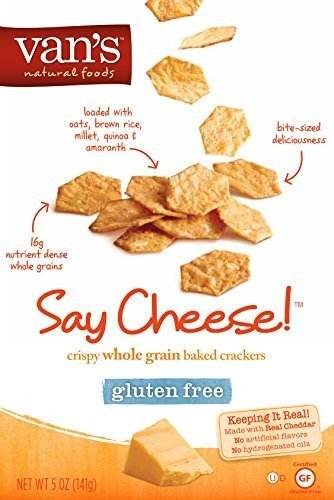 Van's Natural Foods, Baked Crackers, Crispy Whole Grain, Say Cheese! Gluten Free, 5oz Box (Pack of 4)