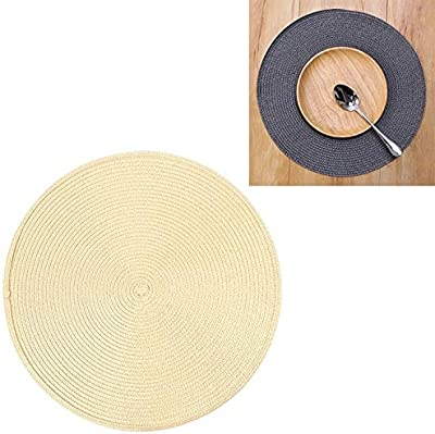 Desktop Supplies PP Environmentally Friendly Hand-Woven Placemat Insulation Mat Decoration, Size:18cm (Brown) (Color : Bright Yellow)