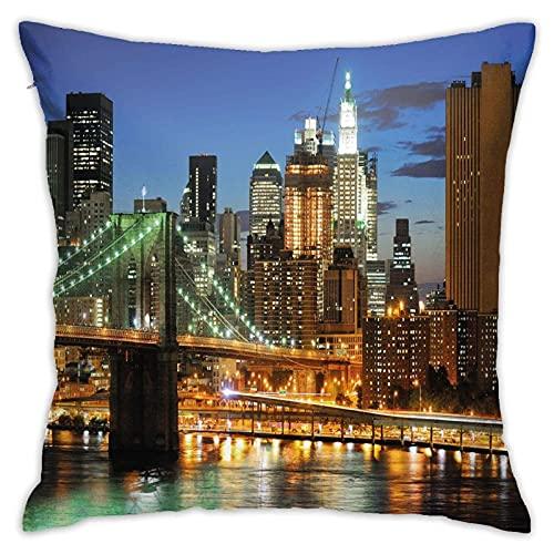 SHUJIA Funda de cojín para cojín de noche con rascacielos Brooklyn Bridge famoso Metropolis Manhattan USA, 45,7 x 45,7 cm