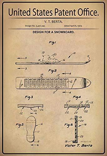 NWFS patent ontwerp voor een snowboard 2 metalen bord bord bord metaal tin teken gewelfd gelakt 20 x 30 cm