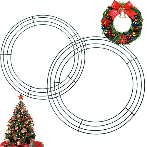 2 Pack Wire Wreath Rings Wreath Frame, Metal Wreath Making Supplies DIY Floral Crafts Wire Form, Large Round Wreath Ring for Christmas Halloween New Year Valentines Door Decor (Green, 12/14 Inch)