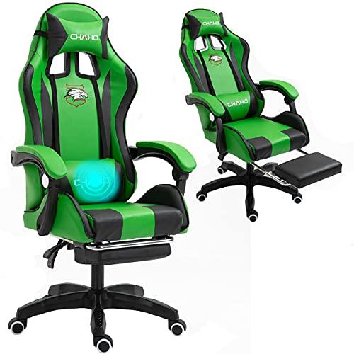 Sedia da gaming con massaggiatore, ergonomica, da ufficio e da gioco, con poggiatesta regolabile con schienale alto e poggiapiedi e braccioli, colore: verde