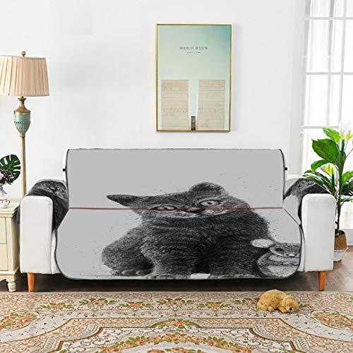 Friends For Life - Silla con reposapiés para ratón y gato Funda con reposabrazos Cubierta con sillón con respaldo Sillón con cubierta reclinable Funda con revestimiento reclinable de 66 '(168 cm) par