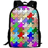 Knapsack,Sac D'Étudiant Coloré De Morceau De Puzzle Personnalisé, Sacs À Livres pour Enfants Confortables pour des, 43x28x16cm