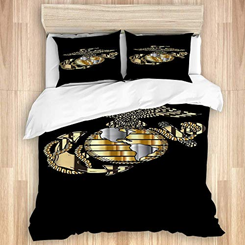 996 Ceekke Duvet Cover Set,Marine Corps Mens Boardshorts,Microfiber 3 Piece Full/Queen Bedding Set with 2 Pillowcases
