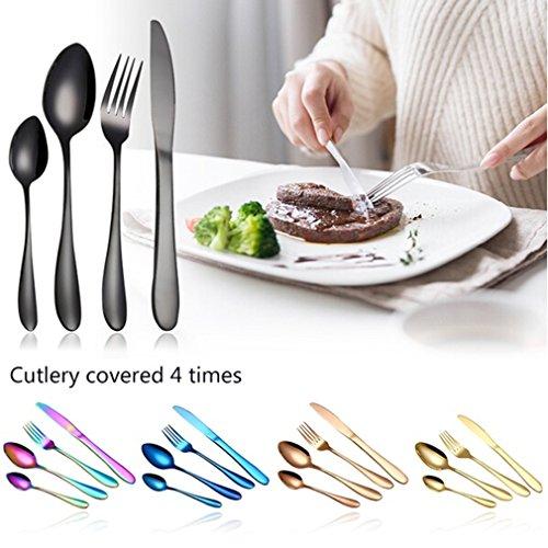 canvivi Set de couverts en acier inoxydable 4 pièces Couteau Fourchette et cuillères à café Ménagère Silber