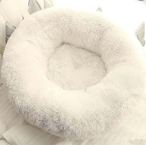 Promworld Deluxe Pet Bed for Cats and Dogs,Winter warm dog kennel, pet kennel-white_70cm in diameter,Dog Cat Cushion Bed Sleeping Bag and Improved Sleep