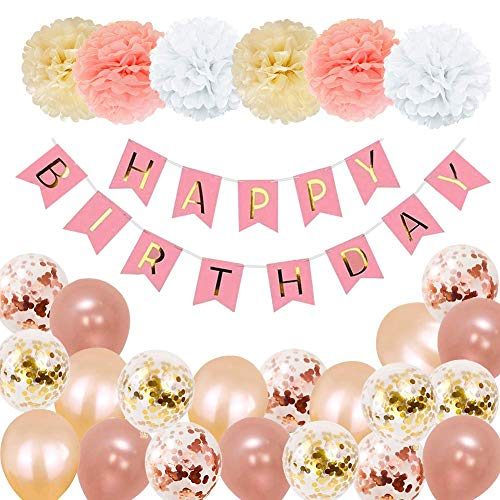 KarleDeal Party Decorations for Girl, Birthday Party Decorations Rose Gold Pink with Happy Birthday Banner Helium Confetti Latex Balloons for 1th 13th 16th 18th 21st 30th 40th 50th Party Decor Set