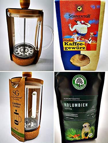 Geschenk Set Frenchpress Kaffee-Drücker - Bio-Kaffee - BIO Kaffeegewürz