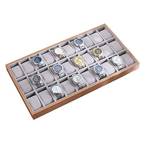 30 Steckplätze Holzuhr-Anzeigetablett Schmuckschatulle Uhrenfach Collector Storage Organizer Case Holzvitrine Sammelbox Aufbewahrungsbox