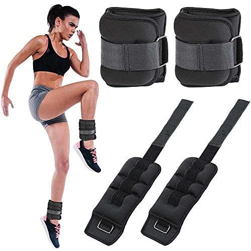 BAKAJI Set 2 Pesi per Caviglie e Polsi da 1 Kg Allenamento Palestra Aerobica Fitness Potenziamento Muscolare in Tessuto Neoprene con Fibbia Regolabile e Chiusura Strappo Peso Totale 2 Kg