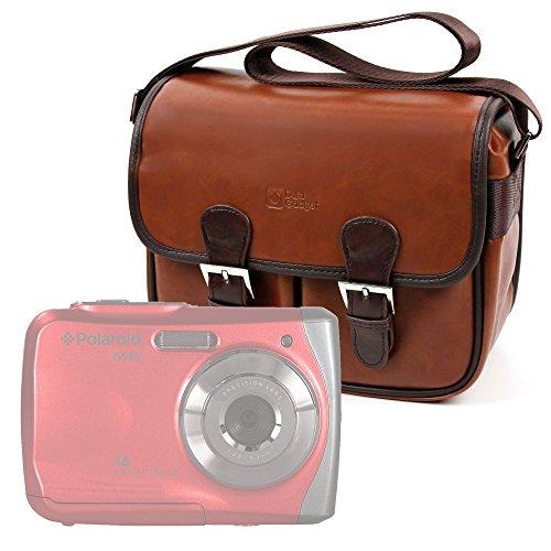 DURAGADGET Bolsa Profesional para cámara Polaroid IS525, IX6038, IX828, Izone iE877, Snap Touch   Express Panda SLR HD 720P Marrón, con Compartimentos