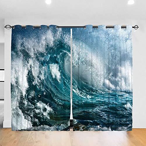 N/A Ocean Wave verduisterende plooi kleuren verduisterende plooi gordijnen thermische geïsoleerde lawaai verminderen gordijn gordijnen kamer donker oogje gordijnen